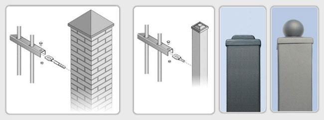 Systempfosten für die Gartenzäune aus Stahl