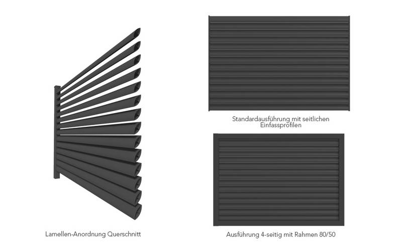 modell plisse der moderne alu lamellenzaun von guardi. Black Bedroom Furniture Sets. Home Design Ideas